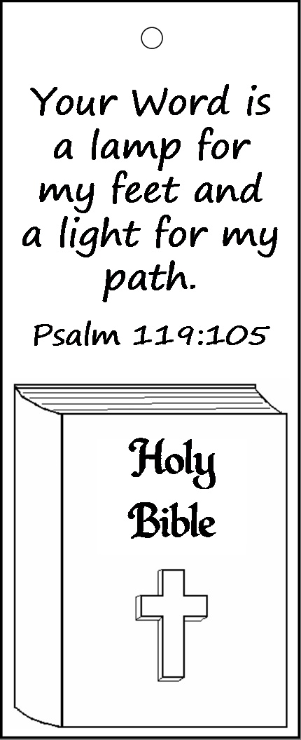 Psalm 119:105 bookmark for kids to color