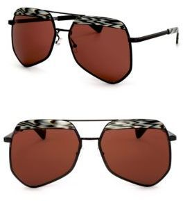 Grey Ant Hexcelled 55MM The Wire Hexagon Aviator Sunglasses - $440.00