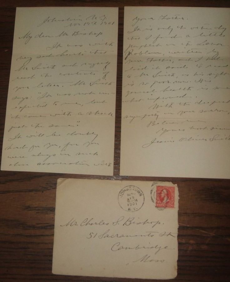 1901 Condolence Letter Jeanie Oliver Smith Charles Bishop Joel Prentiss Bishop
