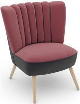 Max Winzer ® build-a-chair Stuhlsessel »Aspen« im Retrolook, zum Selbstgestalten, rosa, Füße: Buche natur, Korpus: Samtvelours anthrazit