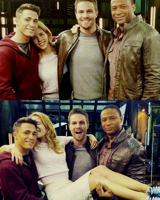 Colton Haynes, Emily Bett Rickards, Stephen Amell and David Ramsey.