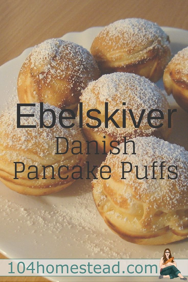 The word Ebelskiver is Danish for apple slices, but the meaning is a dessert or snack similar to a pancake, but with a flakier texture and round shape.