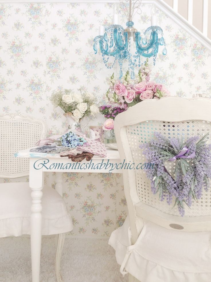 Romantic floral wallpaper/ Shabby chic floral wallpaper/ vintage / romantikev.com