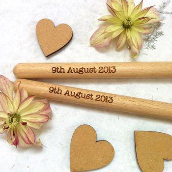 Pair Of Bride And Groom Wooden Spoons