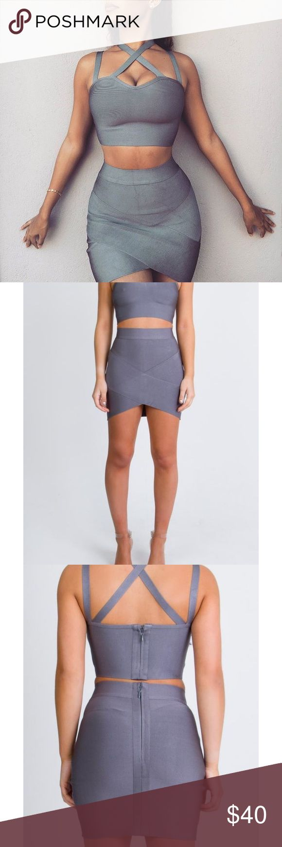 Bianca Slate Gray Bandage Skirt Brand new, never worn!! Best seller on the My Bandage Dress website/instagram and frequently SOLD OUT!! It's a UK size 10 which is a US 6-8 and it's made of a thick, high quality, flattering bandage material. I don't have the top. Retails for $45. Make me an offer! :) My Bandage Dress Skirts Mini