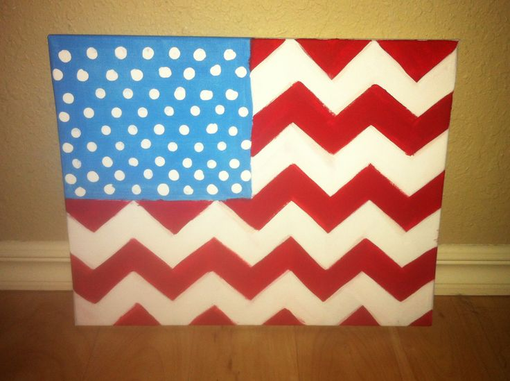 Chevron & american flag canvas painting
