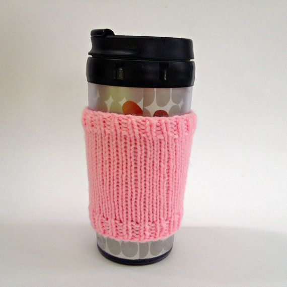Coffee cozies, coffee cup sleeve, knit coffee cozy, knitted coffee cozy, coffee accessories, pink coffee mug, coffee sleeve, coffee cozy on Etsy, $15.00 CAD