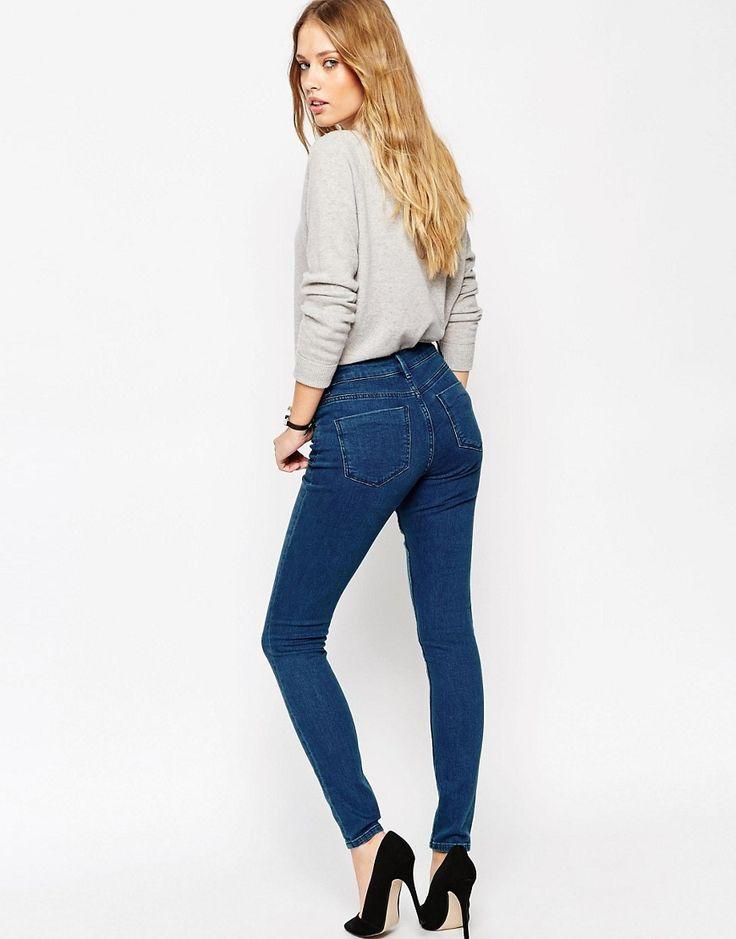 Изображение 2 из Темно-синие джинсы скинни с классической талией ASOS Lisbon