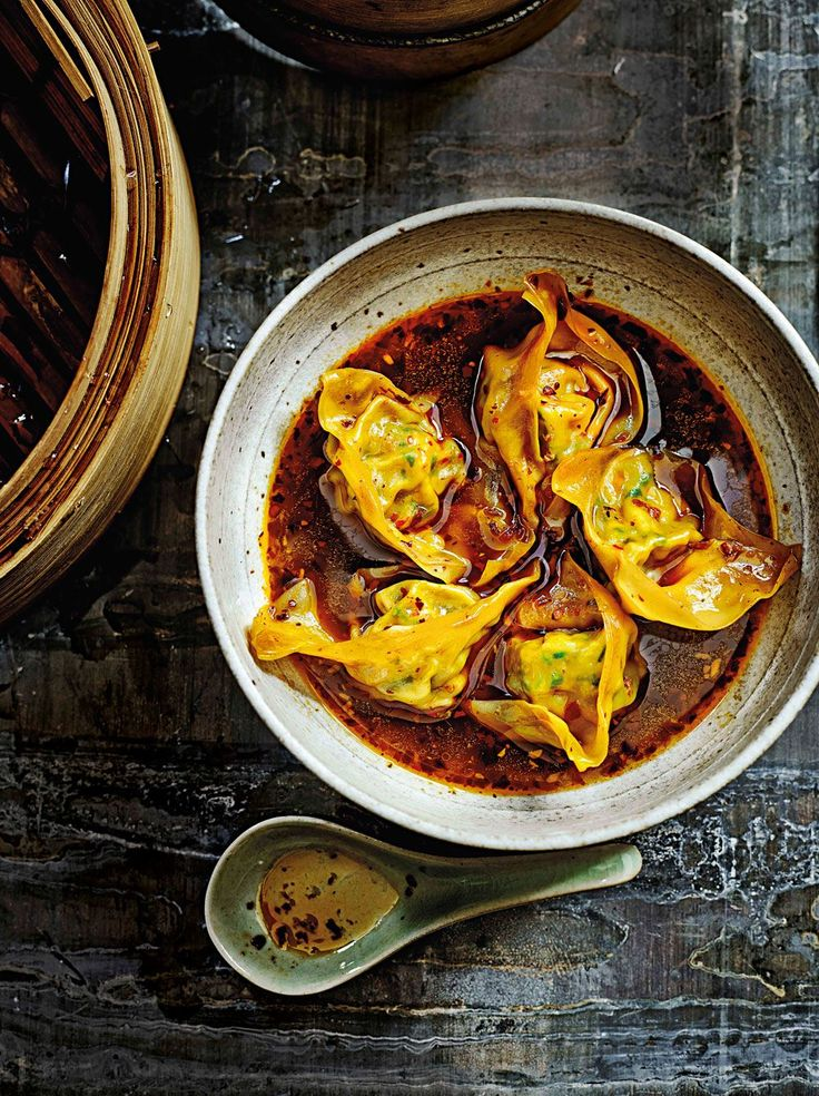 Steamed wontons in chilli broth                              …