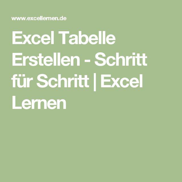 Excel Tabelle Erstellen - Schritt für Schritt   Excel Lernen