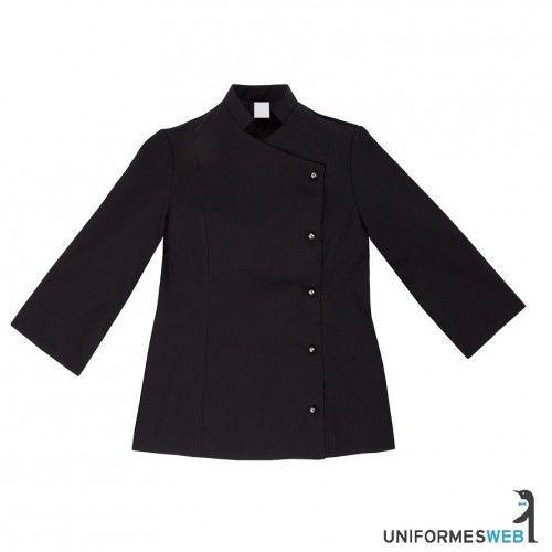 #chaquetilla de #cocina para #mujer en color negro para ropa de trabajo en uniformes web