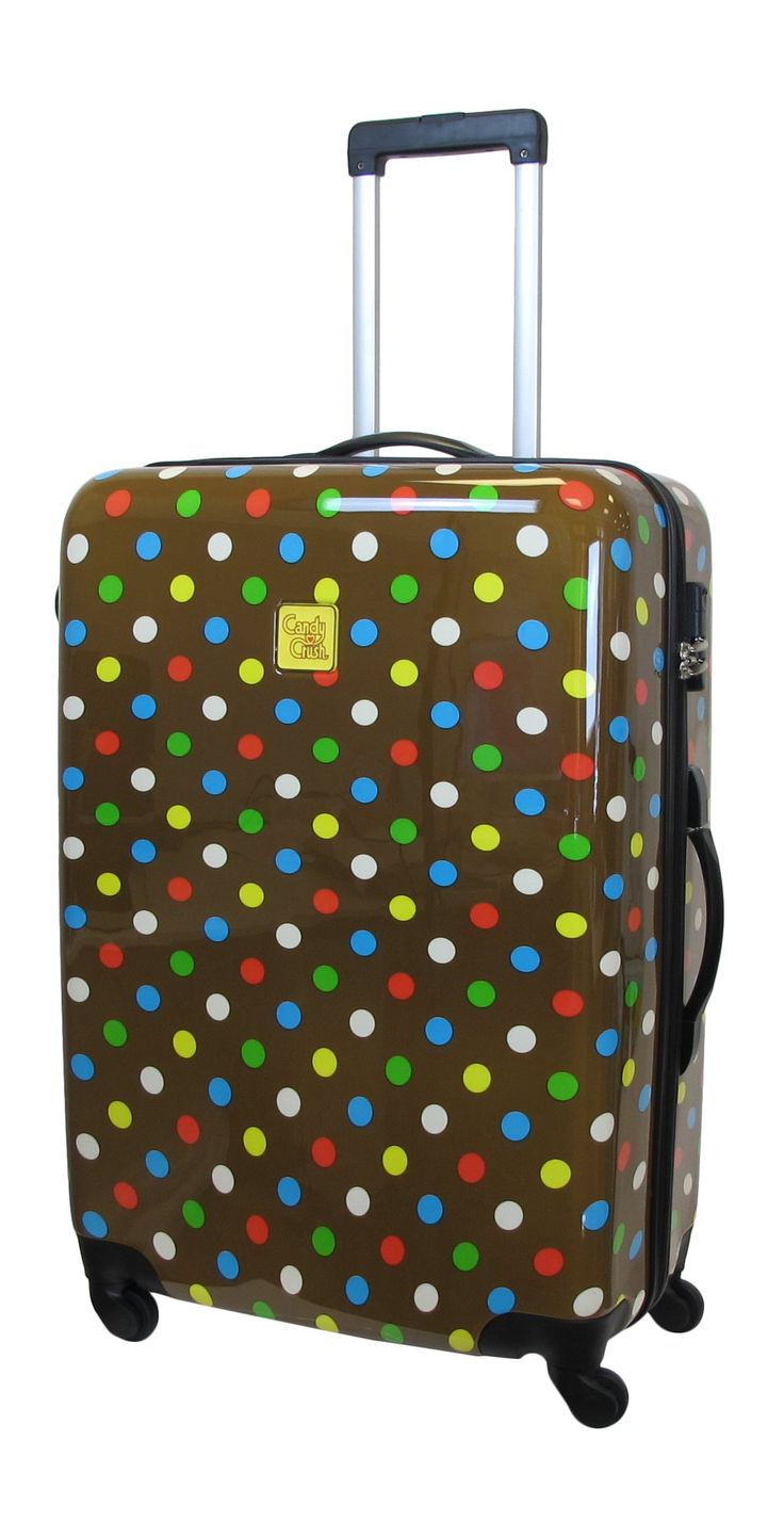 Candy Crush Cabin Bag Dots Large, Multi-Colored, One Size. Aluminum adjustable handle. Plastic wheels.