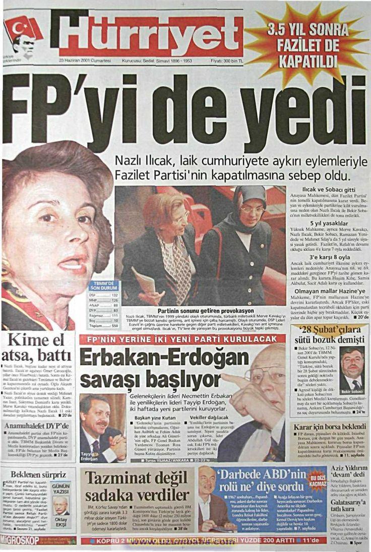Hürriyet gazetesi 23 haziran 2001