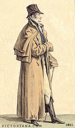 Regency Era Men's Fashion: great coat with capes, circa 1811