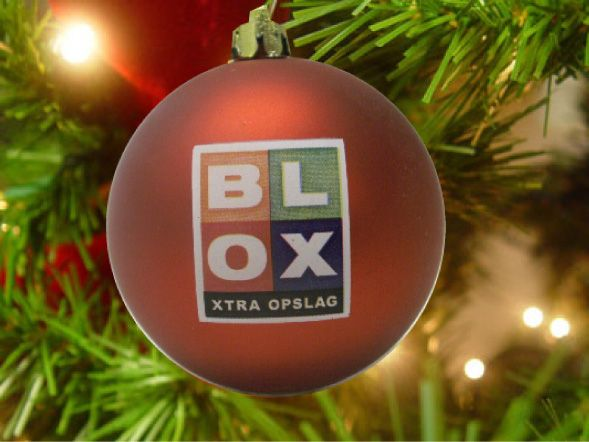 Kerstbal, rood, met logo BLOX extra opslag, in full colour