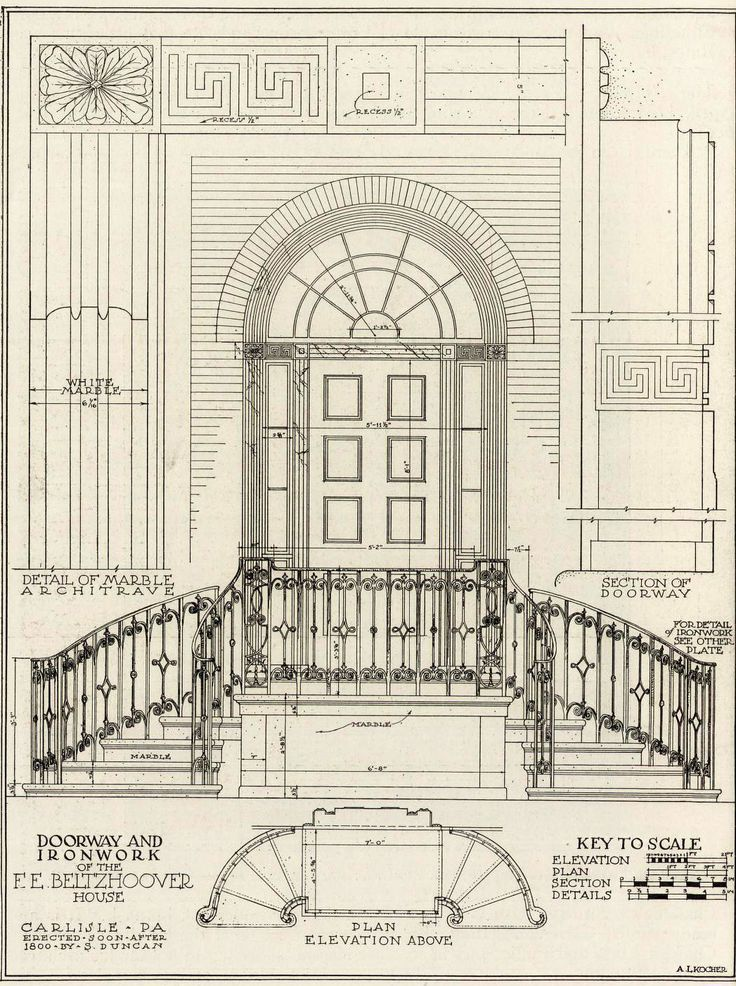 The Doorway And Ironwork Of Beltzhoover Residence Carlisle Architecture DetailsArchitectural DrawingsStair RailingCarlisleDoorwayJournallingArt