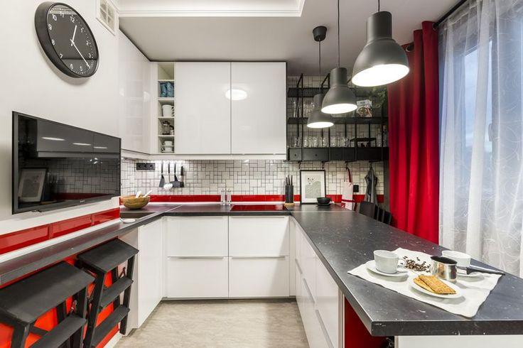 10m2-es konyha modern stílusú berendezése piros fehér fekete zöld színpalettával