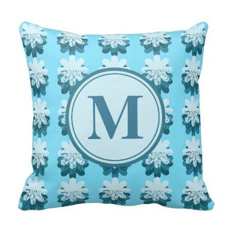 Cascading Blue Snowflake Monogram Throw Pillows