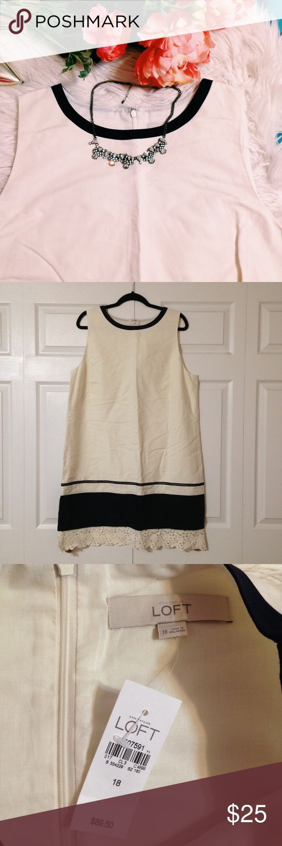 LOFT NWT LACE TRIM DRESS NEW WITH TAGS NEVER WORN! GORGEOUS white dress with navy trim along neckline and bottom- SO PRETTY ON! Size 18 LOFT Dresses Midi
