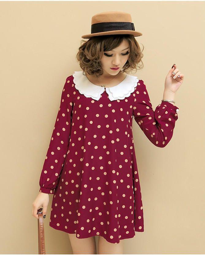 Purple Vintage Polka Dot White Collar Long Sleeves Korean Fashionable Dress 1