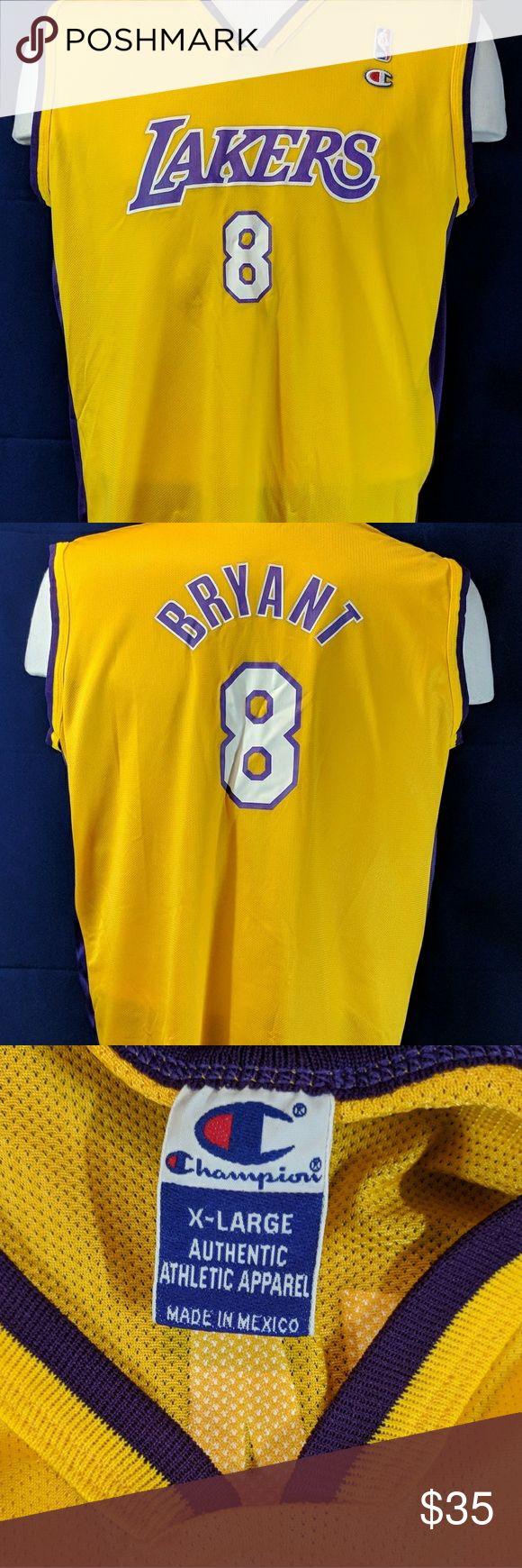 Champion NBA Lakers Kobe Bryant Jersey Condition: 8/10 Rare Champion Lakers Home Jersey Kobe Bryant Number 8 Size X-Large Champion Shirts Tees - Short Sleeve