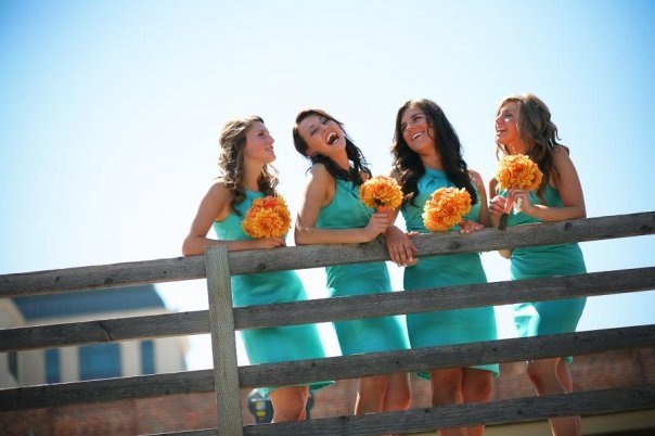 Teal and Orange wedding- My bridesmaids were beautiful !Orange Wedding'S I, Teal Bridesmaid, Bridesmaid Dresses, Orange Weddings, Dresses Orange, Aqua Bridesmaid, Teal And Orange Wedding, Teal Aqua Dresses, Orange Bouquets