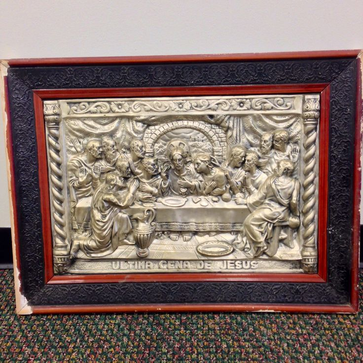 #WeBuyGoldBoutique ~ Ultima Cena De Jesus = Last Supper Of Jesus ... Love this old silver plated picture of The Last Supper, it's actually hanging up in my house now.