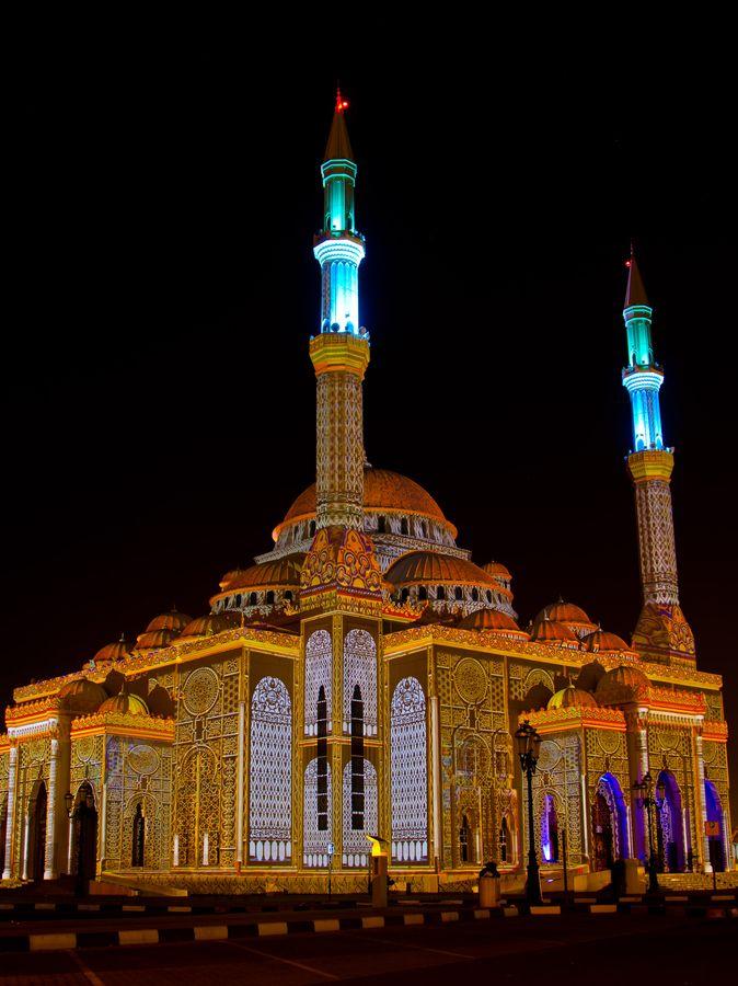 Buhaira Mosque. Sharjah Light Festival, UAE