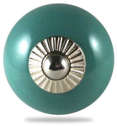 Bouton de meuble et poign�e de meuble pour porte et tiroir, pat�res, vert, boule, uni