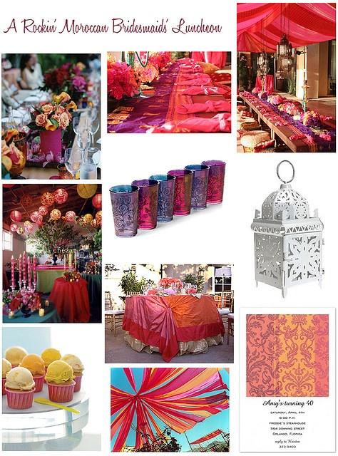 pink fuchsia orange moroccan wedding bridesmaids luncheon by finestationery, via Flickr