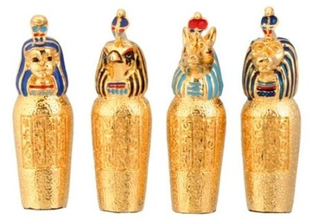 Amazon.com: Pewter Egyptian Canopic Jars, Collectible Egypt Statue, Set of 4: Home & Kitchen $10/ free super saver shipping