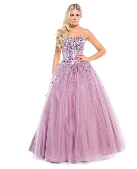 Full ball gown with masses of sparkly tulle petticoats, from Ruby Prom