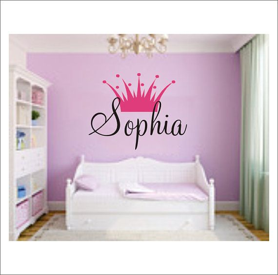 Princess Crown Personalized Vinyl Wall Decal Large Vinyl Wall Decal Girls Nursery Bedroom Home Decor