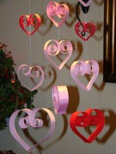 Decoration Valentine Interior Design   Valentine Decorations Ideas With Handmade Ornaments QUILLED HEARTS