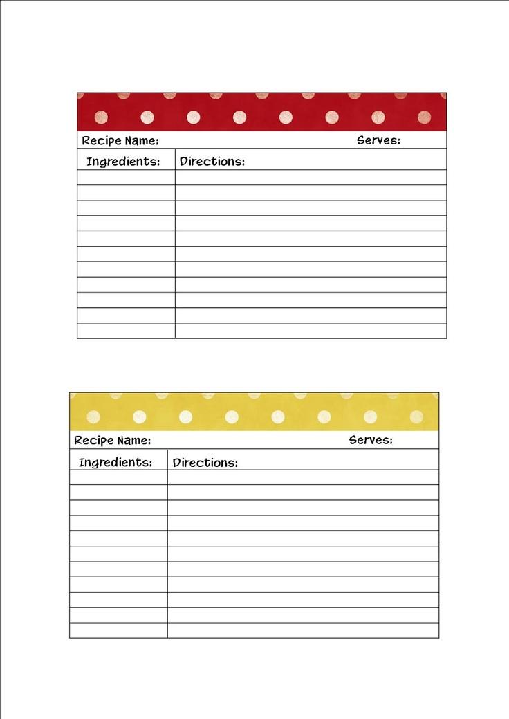 Free Recipe Cards Printables