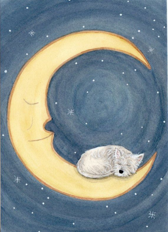West highland terrier (westie) sleeping on moon / Lynch signed folk art print. $12.99, via Etsy.