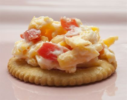 Game time, especially in South Carolina and Georgia, Carolina Caviar on Ritz crackers is a tradition. In the Old South you can't have a church social, family picnic, card game, wedding, or any social gathering without Pimento Cheese sandwiches on white bread.