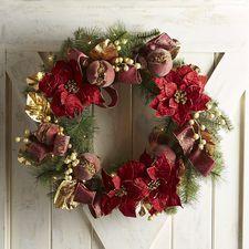"Oversized 28"" Faux Poinsettia Pre-Lit Wreath"