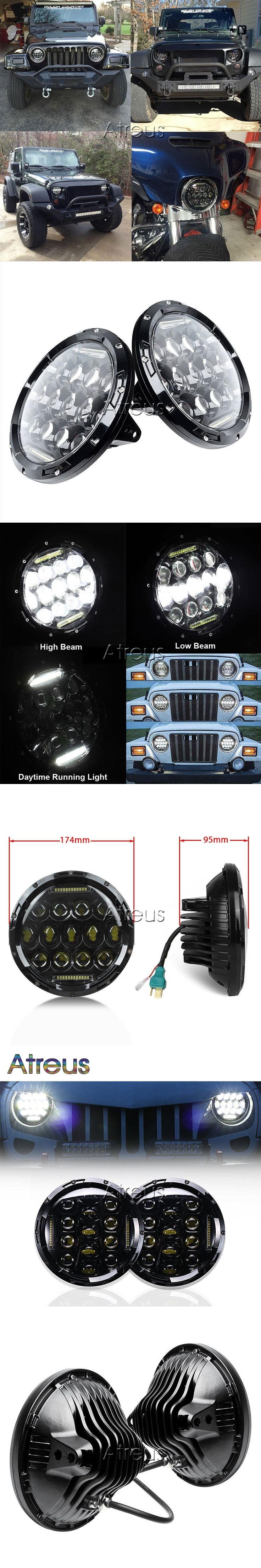Atreus 2X Car Headlights For Jeep Wrangler Accessories Black Cover 7 75W High Low