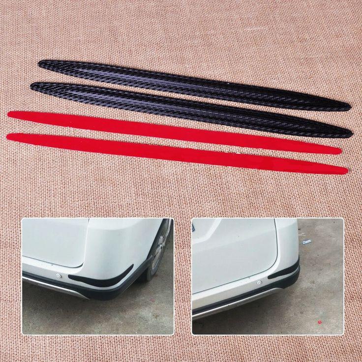 CITALL Car SUV Auto Pickup 2pcs Carbon Fiber Rubber Front Rear Bumper Edge Protector Corner Guard Anti-rub Scratch Sticker