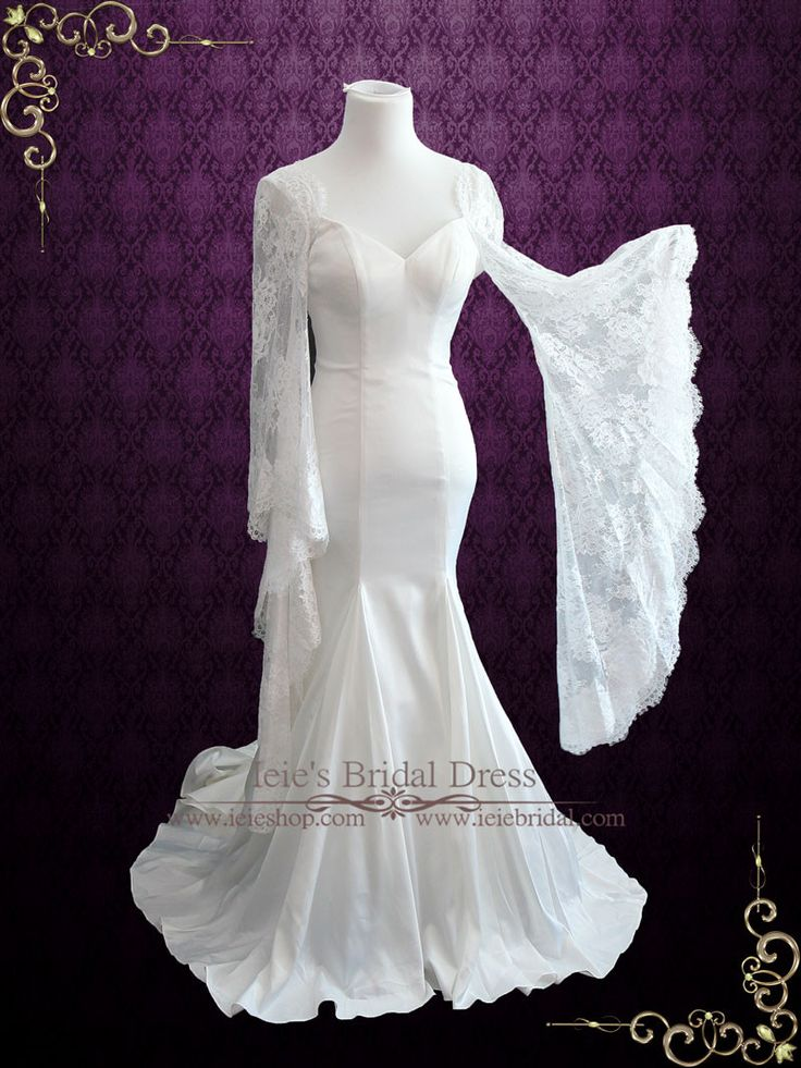 Mermaid satin wedding dress with lace bell sleeves liz for Bell sleeve wedding dress