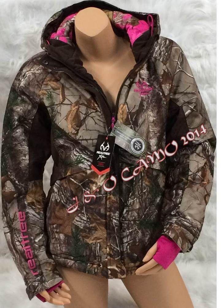 New!!! Womens Realtree Pink Camo Rainproof Parka Jacket with Hood S M L XL #Realtee #Parka