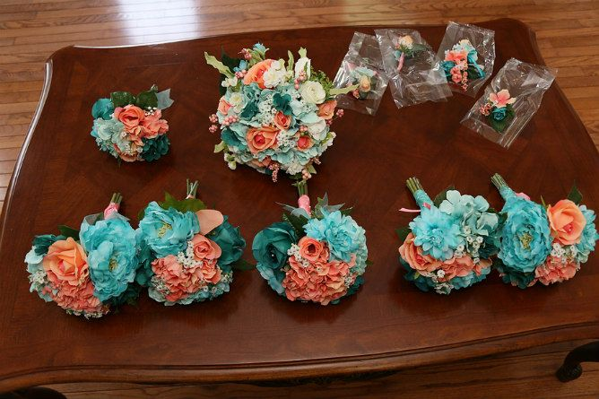 Coral and turquoise wedding bouquets Modern Interfaith Wedding Day - Modern Jewish Wedding Blog