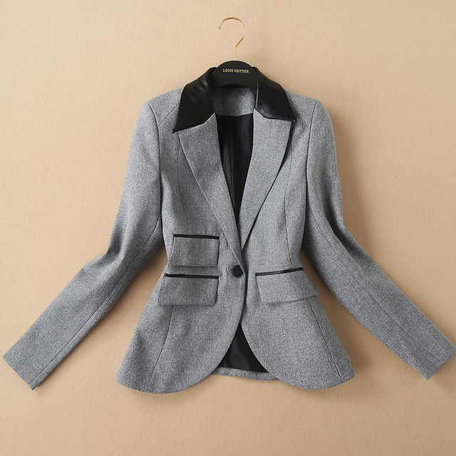 Long sleeves insert leather neck women gray blazers 2015 Womens Coats And Jackets Autumn 2015 Ladies Jackets And Coats 158919 US $50.69 Specifics Closure Type	Single Button Collar	Notched Material	Polyester Sleeve Length	Full Clothing Length	Regular Pattern Type	Solid Hooded	No Model Number	158919 Gender	Women Item Type	Blazers Brand Name	None Crafts	High temperature setting Fabric name	Cotton Blend Main fabric composition	  Click to Buy :http://goo.gl/t9O329