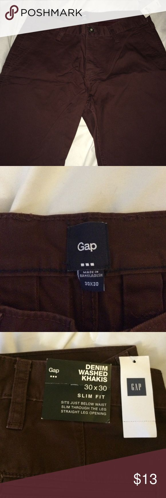 Gap slim fit khakis Denim washed khakis. Brand new, with tags. GAP Pants Chinos & Khakis