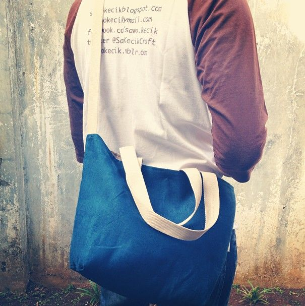 Suede Reversible Tote Bag - Midnight Blue