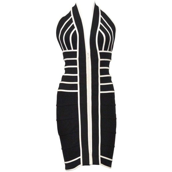 1990s Herve Leger Couture sexy black and white bandage halter-neck... ❤ liked on Polyvore featuring dresses, sexy going out dresses, bandage dress, black and white party dresses, cocktail party dress and party dresses
