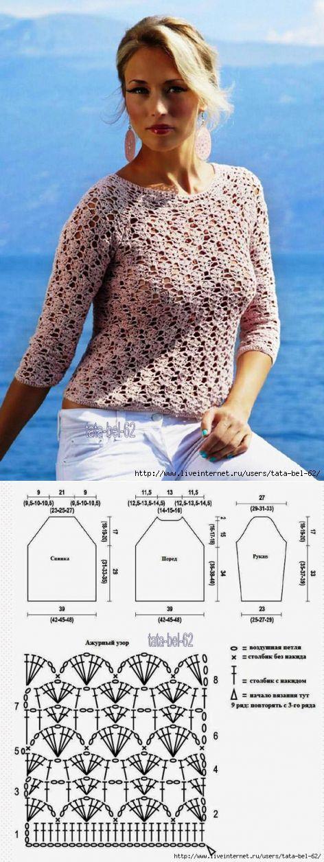 ◇◆◇ Ажурная блуза крючком
