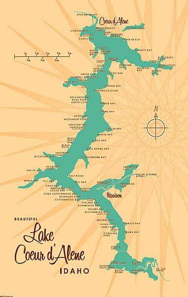 Lake Coeur d'Alene, Idaho by Lakebound #map #idaho
