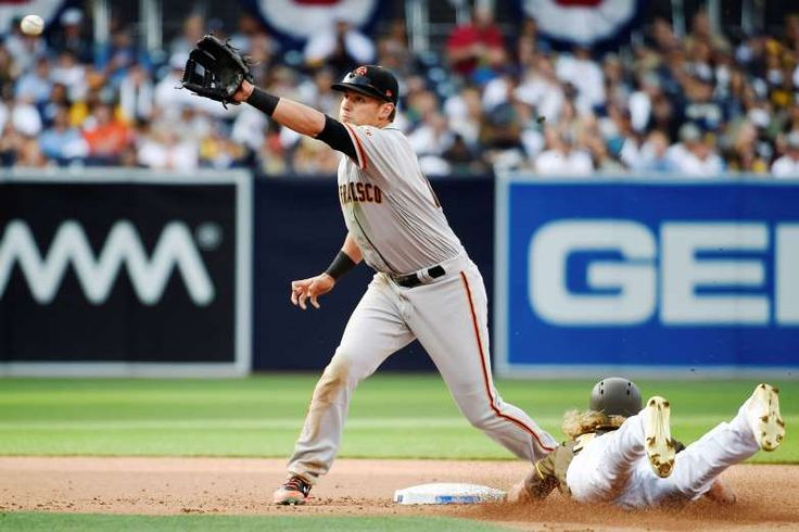 TIGHT STEAL:    Travis Jankowski (16) of the San Diego Padres steals second base ahead of the throw to Joe Panik (12) of the San Francisco Giants during the fifth inning of the opening day baseball game at PETCO Park on April 7, in San Diego, Calif.